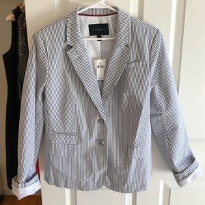 Banana Republic white/gray stripe blazer, NEW, 12